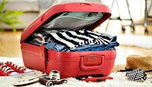 Open suitcase of clothing