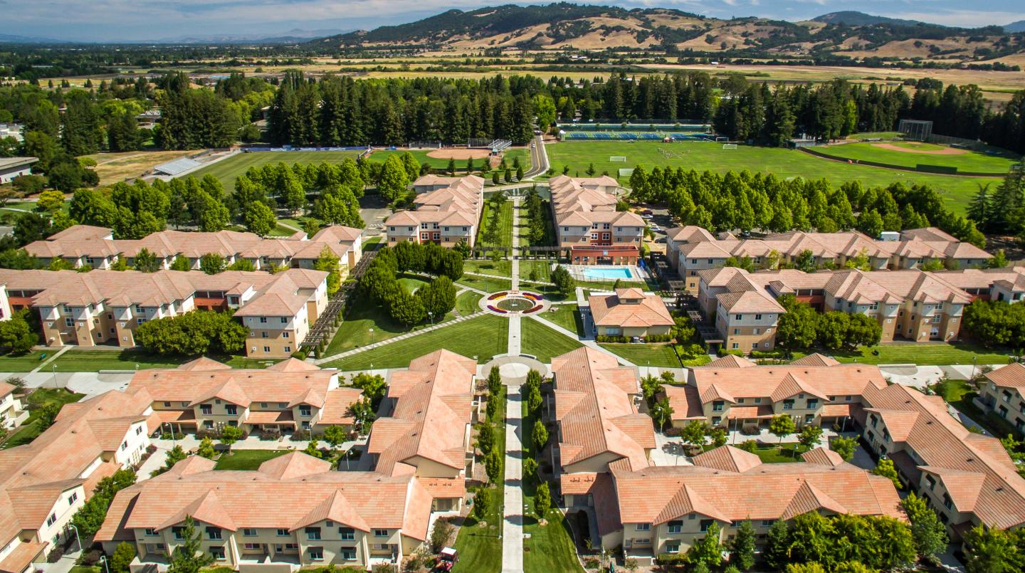 Aerial photo of campus housing of Beujolais and Tuscany and the Sonoma hills