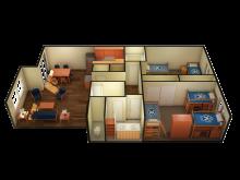 Cabernet 2 bedroom 3D floor plan